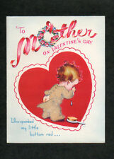 1948 Valentine Card Cute Little Boy For Mother Who Spanked My Little Bottom Red!