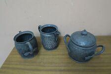 Set @ 3 Vintage Pewter Jar. Creamer & Covered Sugar Bowl Reed & Barton 3135