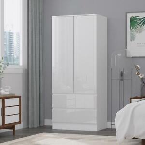 2 Door 2 Drawer Gloss White Scandinavian Modern Bedroom Combination Wardrobe
