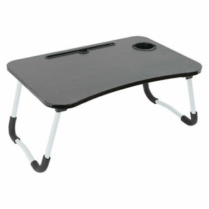 Folding Laptop Table Bed Tray Portable Lap Desk Notebook foldable Stand Cup Slot