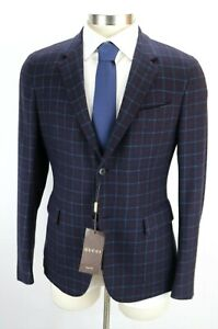 NWT $2900 GUCCI Cashmere Jacket Coat 40 R (50 Eu) Navy Lt Blue Red Check Italy