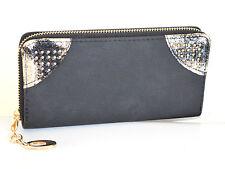 PORTAFOGLIO donna NERO ORO borsello portamonete borsellino clutch bag regalo A16