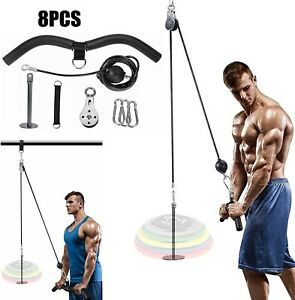 Fitness DIY Pulley Cable Machine Set Biceps Triceps Arm Strength Training US