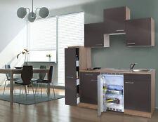 Küche Küchenzeile Singleküche Küchenblock 180 cm Eiche Sägerau grau respekta