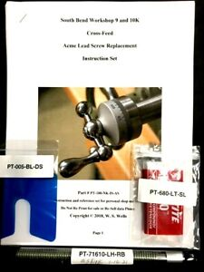 South Bend 9-10K, 7/16-10 LH 4-G Acme CrossFeed Screw Kit with Instructions Set