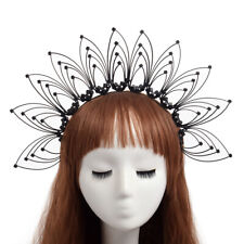 Gothic Black Floral Headband Party Cosplay Costume Headpiece Crown Headdress
