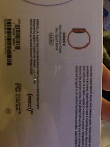 Apple Watch Series 6 44mm Aluminum Case Red Sport Band Smart Watch - (M07K3LL/A)