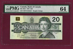 CANADA BANK OF CANADA 20 DOLLARS 1991 P-97 UNC GRADED