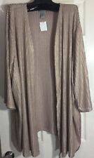 New Catherines 3X Women Open Front Long Stretch textured Cardigan Beige Topper