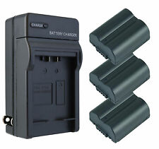 3 Pack CGA-S006 Battery + Charger for Panasonic Lumix DMC-FZ35, FZ18, FZ30, FZ38