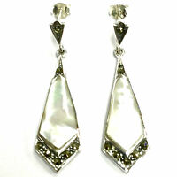 Art Deco Sterling Silver Marcasite & Mother of Pearl Droplet Earrings Hallmarked