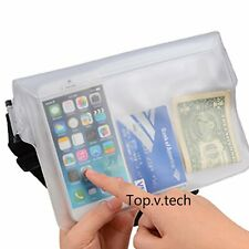 White Waterproof Waist Pouch Bag Dry Underwater Case Cover For iPhone Cell Phone