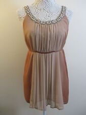 Principles dress size 10.Tan/Beige ombre design.Filligree & bead straps.Party