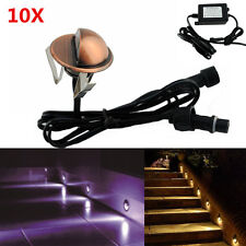 10X Warm/Cool White 12V Coppery Half Moon Outdoor Stair Path LED Deck Lights Set
