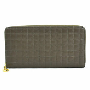 Auth CELINE C Charm Large Zipped Wallet Quilting Long Wallet Olive Brown y15185g