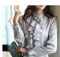 Women Work Long Sleeves Formal Tops High Neck Frilly Ruffle Shirt Blouse Coat L