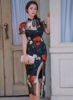 Women Sexy Improved Long Lace Cheongsam Dress New Fashion lady Bodycon Gown