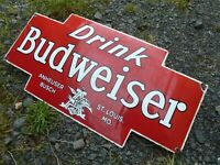 "BUDWEISER porcelain sign advertising vintage domed 27"" beer collectible USA BUD"