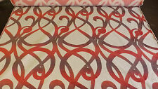 BARGAIN END OF ROLL 6.7 METRE OF QUALITY UPHOLSTERY FABRIC A PINK SWIRL DESIGN
