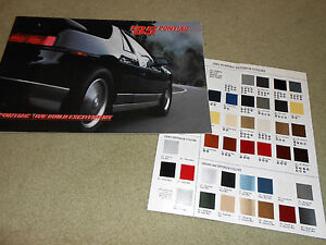 1985 PONTIAC FIERO, FIREBIRD, GRAND PRIX Etc. BROCHURE + ORIGINAL 85 PAINT CHIPS