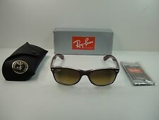 RAY-BAN NEW WAYFARER SUNGLASSES RB2132 605485 RED CLEAR/BROWN GRADIENT LENS 55MM