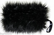 MONGOLIAN BLACK LUXURIOUS FAUX FUR MUFF HAND PERFECT FOR BRIDAL WEDDING CASUAL
