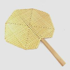 THAI HAND FAN  NATURALCOLOR BAMBOO HANDMADE  WAVING COOL THE FRESHLY COMFORTABLE