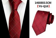 Tie Silk Red Black Silver Check Grid Patterned 100% Silk Wedding Mens Necktie