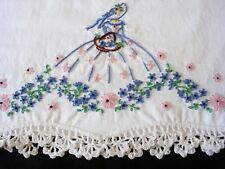 Hand Embroidered Crochet PillowCase Southern Belle Sateen Cotton Standard One