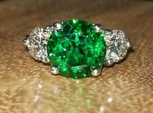2.8 ct tw Natural Green Tsavorite /& Diamond Solid 14k White Gold Statement Ring