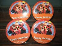 Disney 4 Button Set WDW Family Reunion The Incredibles Pins Pin-Back Theme Park