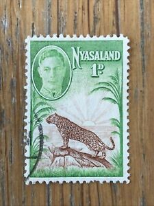 Nyasaland 1947  KGVI -  rare 1d used Leopard and Sunrise stamp SG160 - VG/F