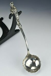 George II Period English Sterling Silver Soup Ladle Dated 1753 Bust & Armorial