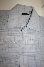 Burberry London Mens Shirt USA blue window pane motif EUC Size 17 R