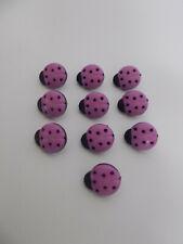 10 x Deep Lilac Orchid Shade Ladybird Buttons Shank Buttons Novelty Buttons