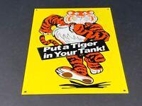 "VINTAGE ""ESSO PUT A TIGER IN YOUR TANK"" 12"" X 8"" BAKED METAL GASOLINE & OIL SIGN"