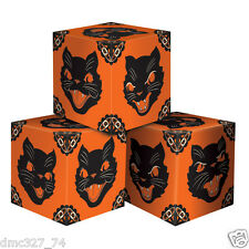 3 HALLOWEEN Favor Boxes Decoration BLACK CAT Vintage 1948 Beistle Reproduction