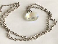 """Vintage Iridescent Faceted Glass Pendant 1 1/8"""" Silver Tone Chain Necklace 30"""""""