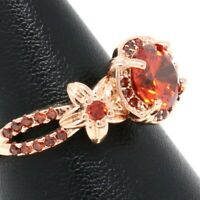 Hand Carved Solitaire Red Ruby Ring Women Flower Jewelry 14K Rose Gold Plated