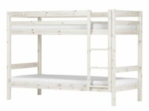 Kiefer Hochbett Flexa 90x200 cm + Leiter Kinderbett Jugendbett Etagenbett weiß