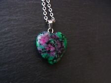 Ruby Zoisite Heart Stone Necklace 'Joy Necklace' Healing Chakra Pendant Natural