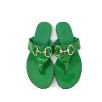 GUCCI Designer SAND PELLE Sandals Green Patent Leather HORSEBIT Women - Sz 6.5 B