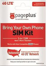 "Page Plus 4G LTE STANDARD / MICRO ""DUAL"" SIM Card PREPAID 4G LTE FAST SHIPPING"