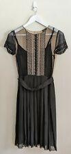 COLLETTE DINNIGAN Black/Beige Silk-Crepe Lace Dress w/ Slip Underlayer - Size S
