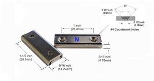 "4 pcs of 1.5"" x 9/16"" x 3/16"" thick Neodymium Mounting Magnets - NCH 150"