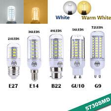 220V High Luminous E14 / E27 Screw B22 Bayonet Base LED Corn Light 5730 SMD Lamp