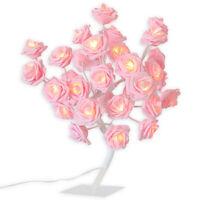 LED Rose Blossom Desk Bonsai Table Lamp Tree Light Valentine Gift Usb/ Battery