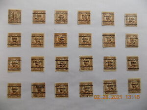 U S Coll'n of (24) all Diff't cities PRECANCEL DEF.-2-H-1 1/2 cent Harding COILS