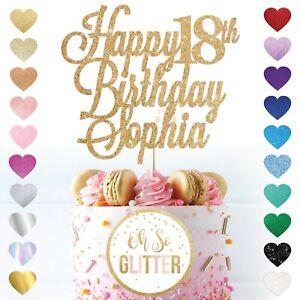 Happy 18th Birthday Cake Topper Custom Name Glitter Eighteenth 18 personalised