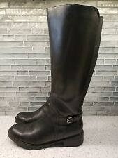 Blondo Tall Black Leather Boots Aqua Protect Fur Lined Waffle Bottom Sz 7m